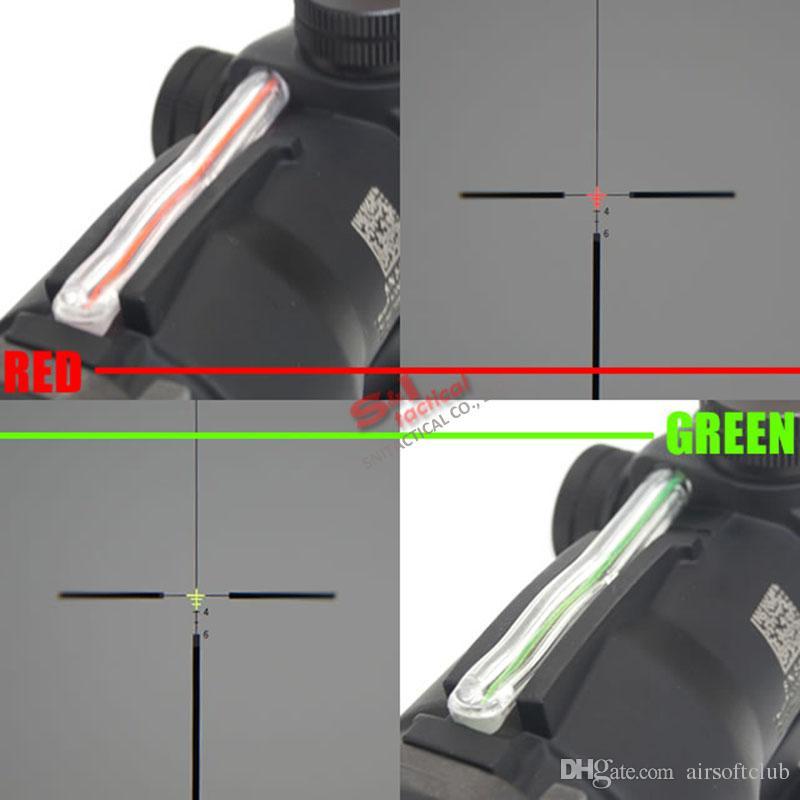 전술 트리 존콘 ACOG 4x32 광섬유 범위 W / REAL RED / GREEN FIBER CRESSHAIR RIFLESCOPES가 죽은 플래시와 함께 제공됩니다.