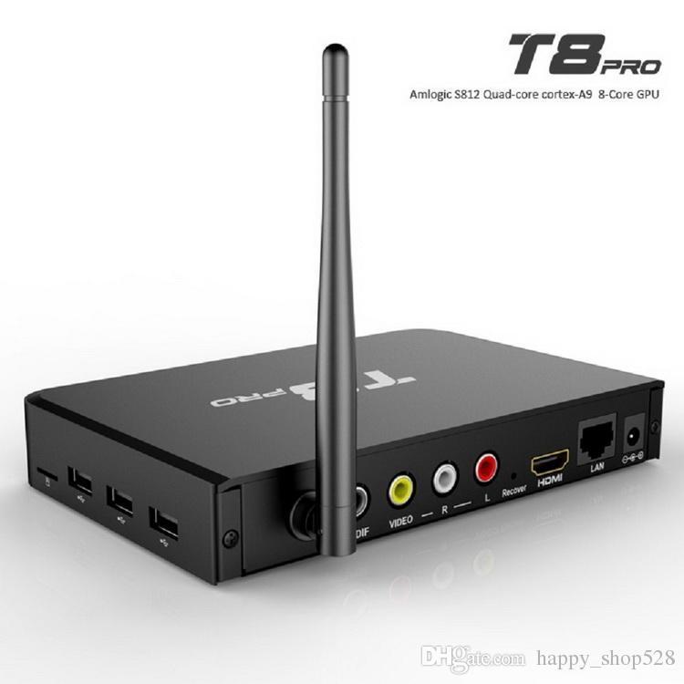T8 Pro Quad Core Android 4.4 TV BOX S812 supporto smart media player quad core 2.4 / 5Ghz wifi Bluetooth 2GB / 8GB scatola android tv