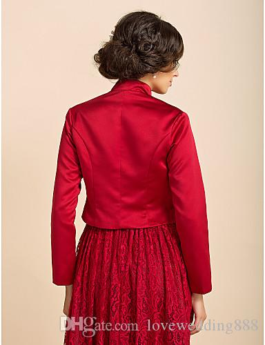 2015 Vintage Wedding Bridal Bolero Jacket Cap Wrap Shrug Custom Satin Half Sleeve Front Open Jacket for Wedding Evening Dress Jacket Wraps