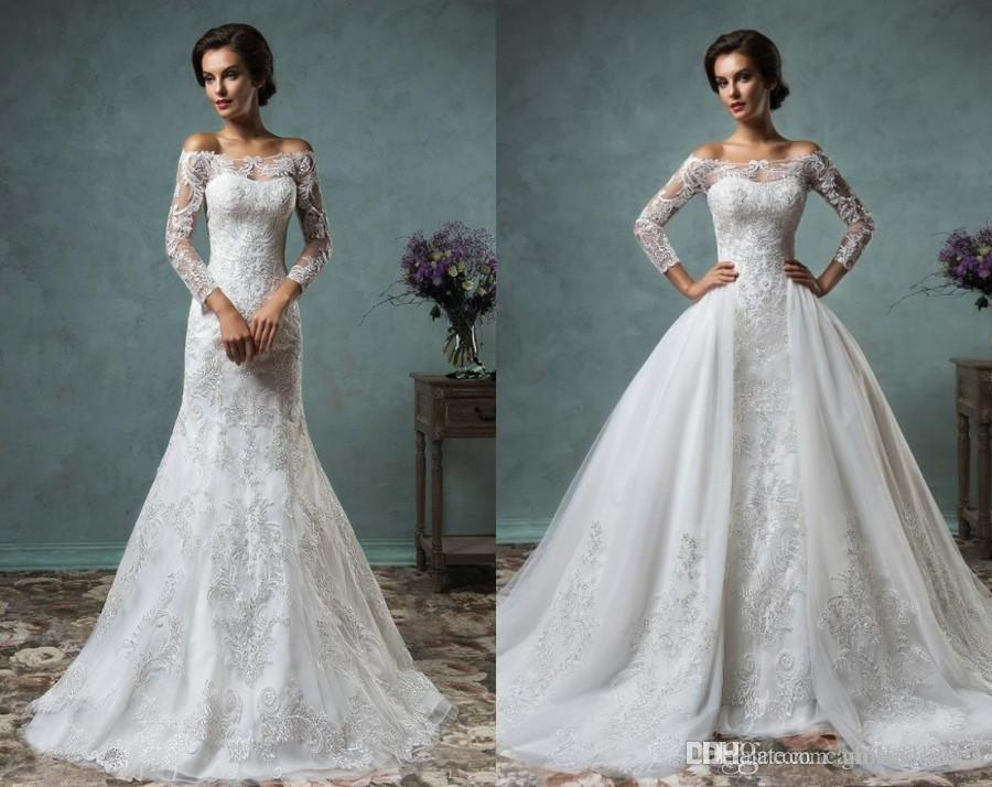 2017 Beaded Overskirt Sheath Wedding Dresses Detachable Skirt Long ...
