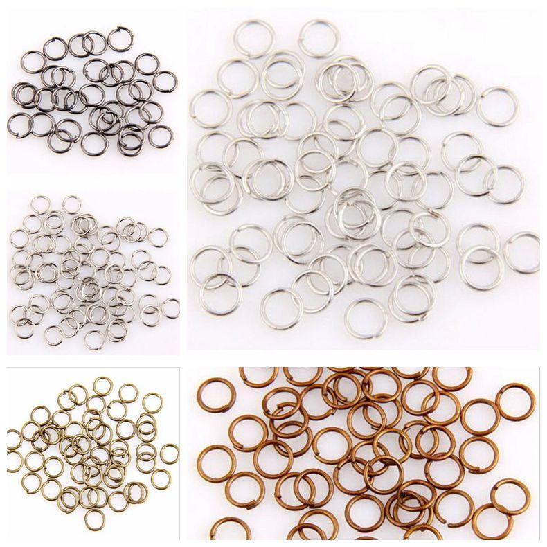 Heta! hoppa ring, hoppa ringar öppna kontakter pläterade silver / guld etc. 5mm