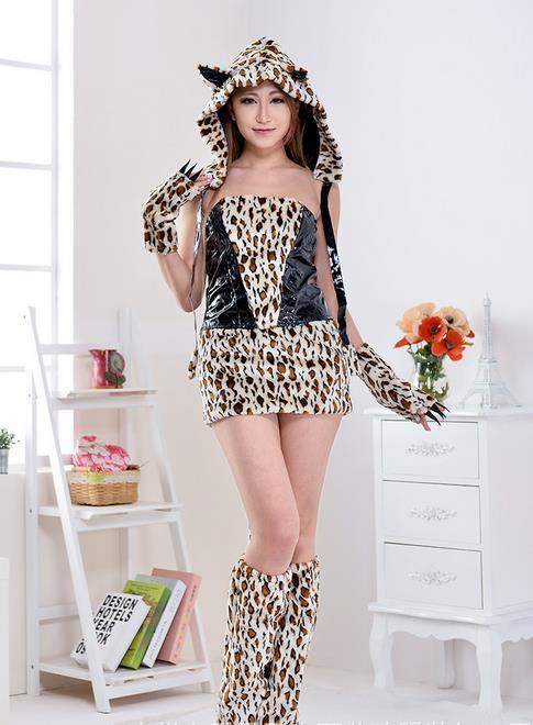 Sexy Furry Léopard Imprimer Furry Halloween Costume COS catwomen Chat / Loup / Léopard Nightclub Vêtements fête de noël porter ensemble cadeau