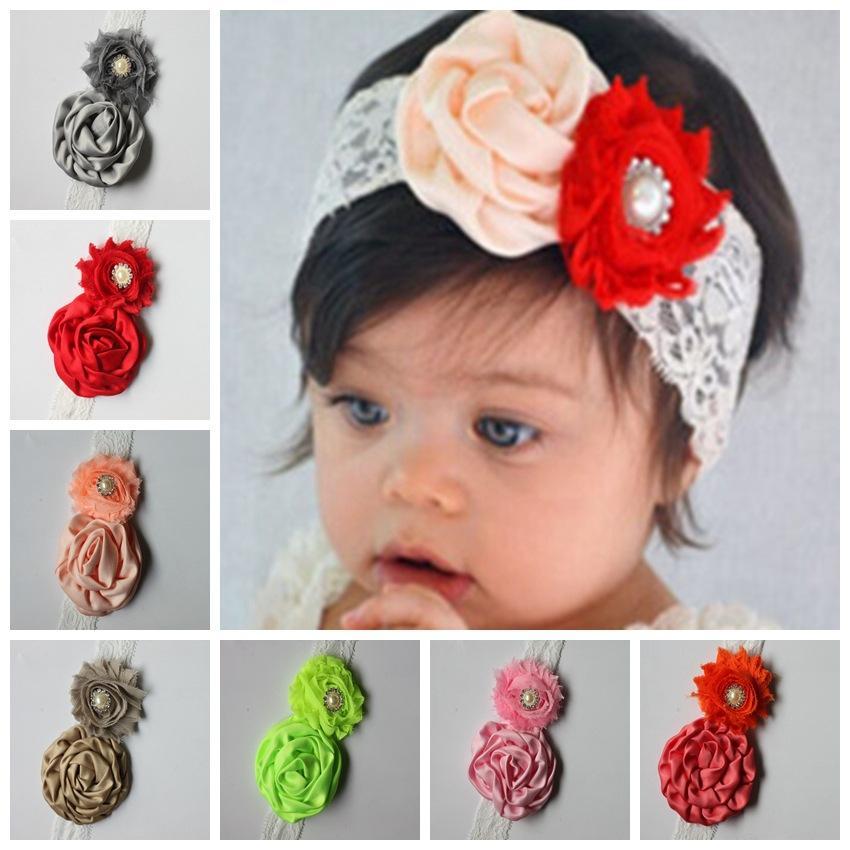 Atacado Infantil Flor Headbands Menina Lace Headwear Crianças Bebê Adereços Fotografia NewBorn Bow Acessórios Para o Cabelo Do Bebê Lace Hair bandas