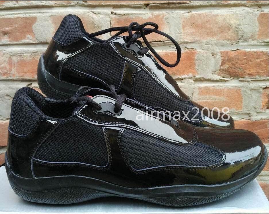Brand New Mens Casual Sapatos de Conforto Moda Tendências Sapatos Para homem Copo Americano de Couro de Patente com Malha Respirável Sapatos Tamanho 39-46