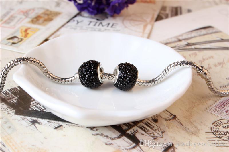 Черный Шарм бисера 925 посеребренные мода женщины ювелирные изделия потрясающий европейский стиль для Pandora браслет ожерелье PANMB137
