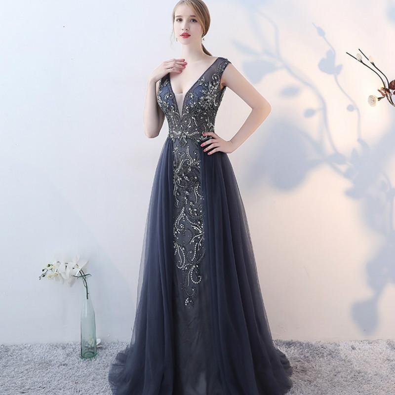 Evening Dress Elegant Dark Gray Square Neck Sleeveless Backless A