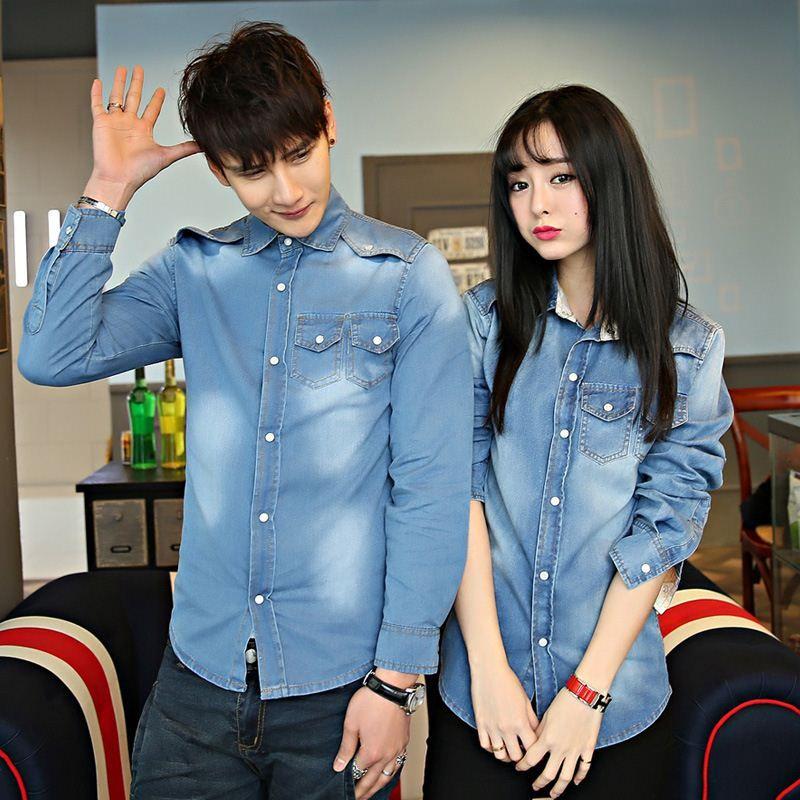 263e7913421 2019 Factory Direct 2015 Spring And Autumn Korean Men And Women Couple Long  Sleeved Denim Shirt Slim Men S Jeans From Yuncai1