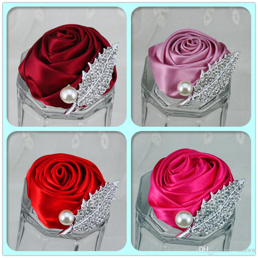 Cheap Crystals Groom Corsages Bridesmaid Flower Brooch Wedding Accessories Pearls Satin Rose Corsage Bridesmaid Corsage Can Choose