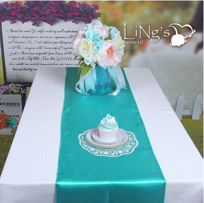 12X108 Beautiful Sky Blue Satin Table Runner Wedding Banquet ...