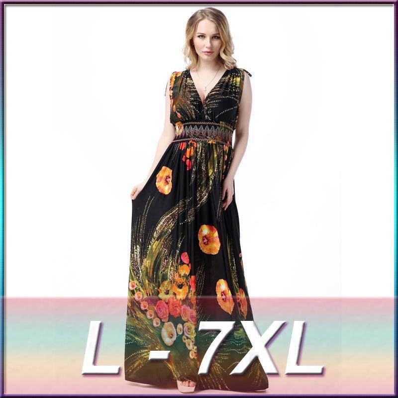 Plus Size L-7XL 2016 New Summer Fashion Dress Womens Floral Print Dress  Bohemia Sleeveless Maxi Beach Dress Floor-length Ice Silk Long Dress Dresses  for ... b4fa32bd3f17