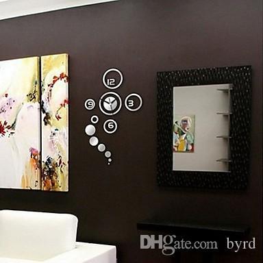 크리 에이 티브 미러 패션 음소거 벽 시계 무작위 컬러 실버 0201004