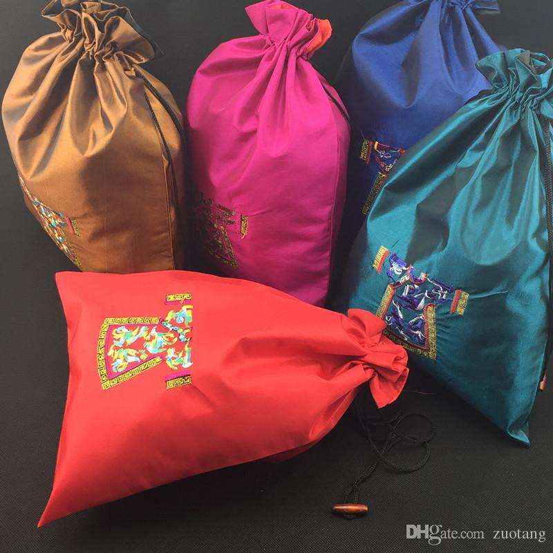 Large Embroidery clothing Shoe Cover Travel Storage Bags Chinese style Drawstring Reusable Satin Cloth Art Vintage Gift Packaging Pouches
