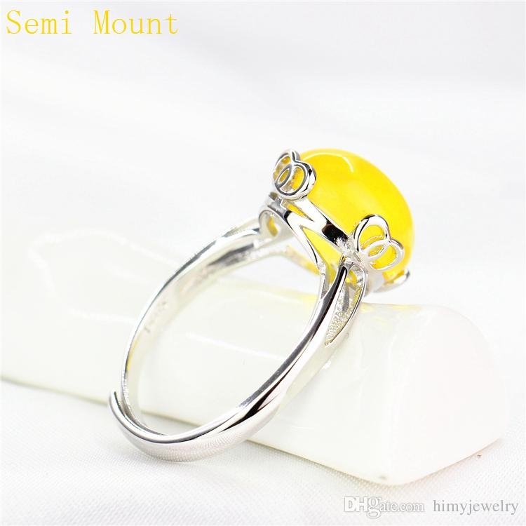 925 Sterling Silver Semi Mount Ring White Gold Plated for 10x12mm Oval Cabochon Amber Agate Turquoise Fine Jewelry Setting DIY Stone