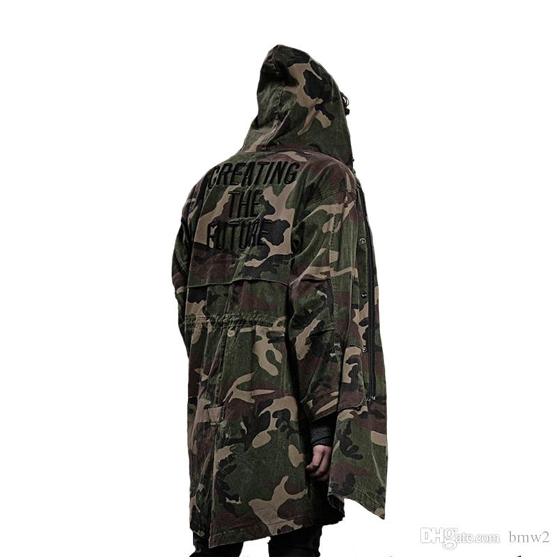 371222128ec 2019 Men S Trench Coats 2018 Autumn Winter Overcoat Men Windbreaker Trench  Coats Loose Army Green Camouflage Embroidered Long Hooded Windproof Ou From  Bmw2