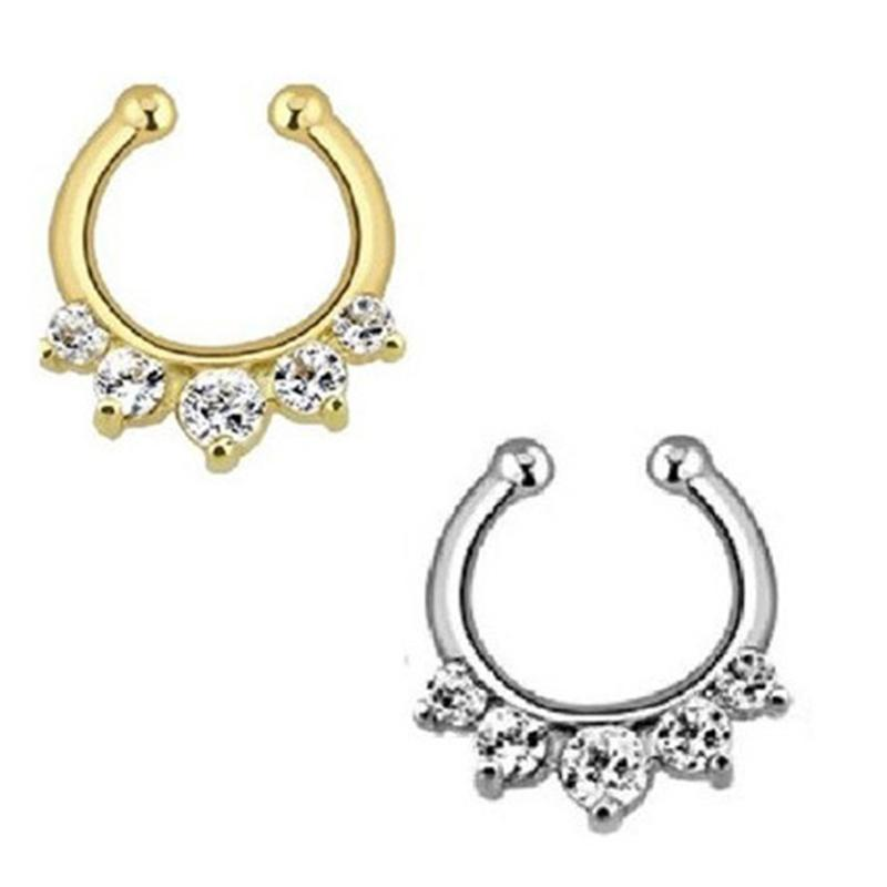 10pcs alloy hoop nose rings Gold Sliver indian Fake Nose Ring fake septum piercing with crystal for body jewelry N0017