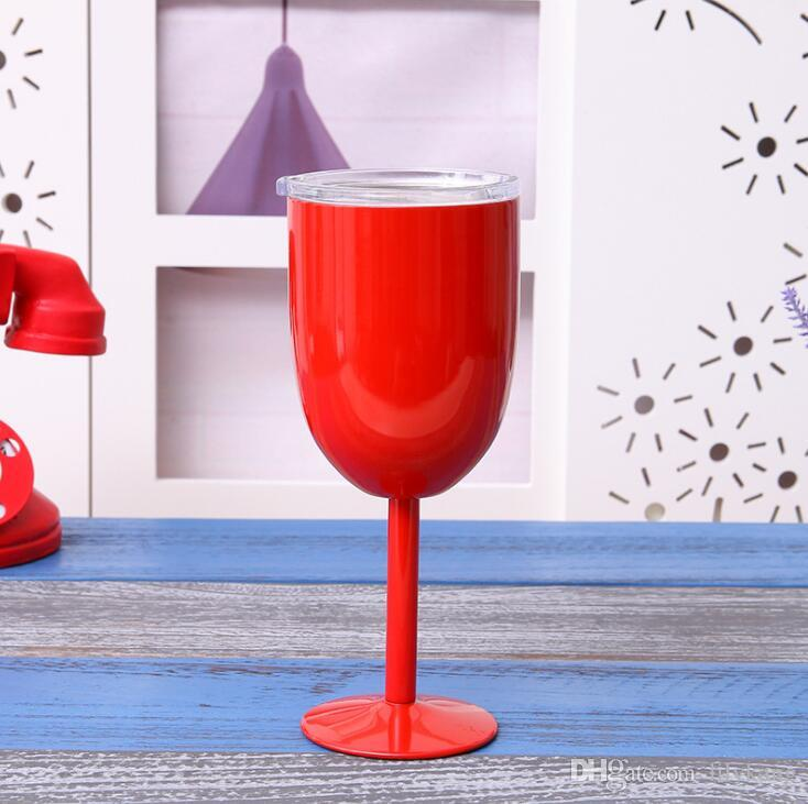 Les amateurs de vins 10 onces tasses caliciformes Tige tasses inoxydable de bière verres de vin rouge à vide tasse isotherme en acier inoxydable avec tasse de tasse de couvercle 9 de couleur