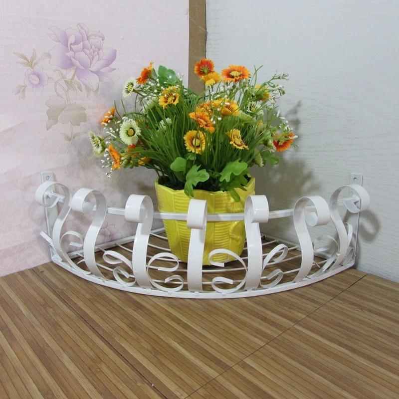 Plant Pot Holders Diy: Flower Pot Stand Corner Holder Shelf Iron Wall Spider