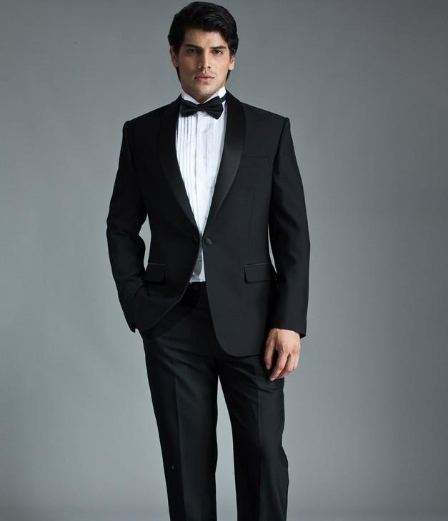 Modern Black Men Suits For Wedding Shawl Lapel Grooms Tuxedos Two ...