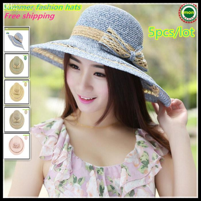f1eee96b095 Wholesale-2015 Fashion Summer Women s Ladies  Foldable Wide Large Brim  Floppy Beach Hat Sun Straw Hat Cap Women Head Hat World Hat Medical Cap  Duck Online ...