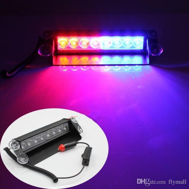 8 LED de alta potencia luces estroboscópicas con ventosas Bombero intermitente del coche de emergencia camiones ligeros 8 LED Strobe Light Car Advertencia Tow Dash