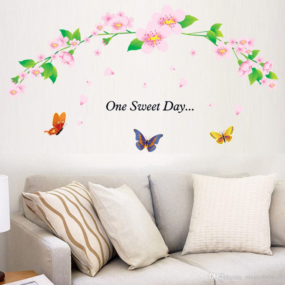 One Sweet Day Pink Cherry Blossom Tree Wall Decor Stickers Decal Flower  Floral Wall Stickers With Butterfly Wall Art Paper Murals Decal Art Decal  Art For ...