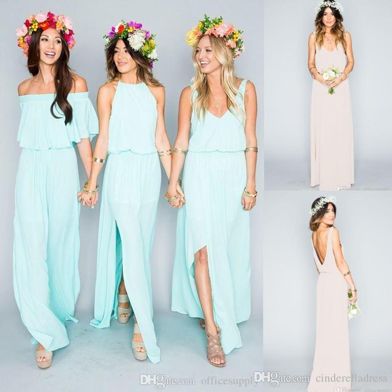 2017 Summer Beach Bohemian Bridesmaid Dresses Mixed Country Boho Style Chiffon Split Side Slit Custom Made Maid Of Honor Bridesmaids Gowns Blush Pink