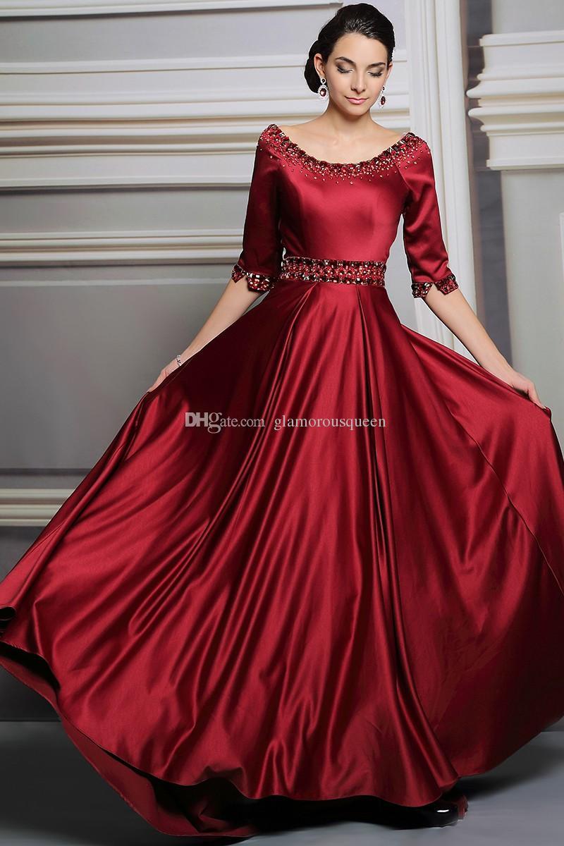 Haute Qualité Une Ligne Scoop Longueur Au Sol Élastique Demi Manches Robes De Soirée Avec Cristal robes de soirée robe Femmes robes