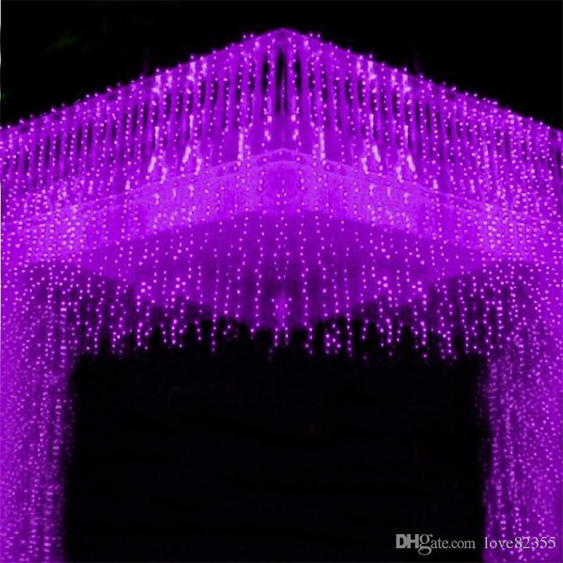 3m * 2m LED 문자열 커튼 라이트 192 Led 크리스마스 크리스마스 결혼식 파티 휴일 장식 플래시 문자열 조명 요정 램프