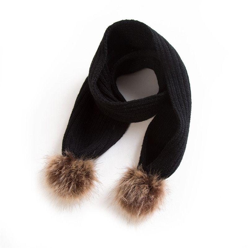 Baby-Winter-Schal Häkeln Jungen-Mädchen-Haar-Kugel-Halstuch für Kinder Warme Strickschals Kinder Warmer Kragen