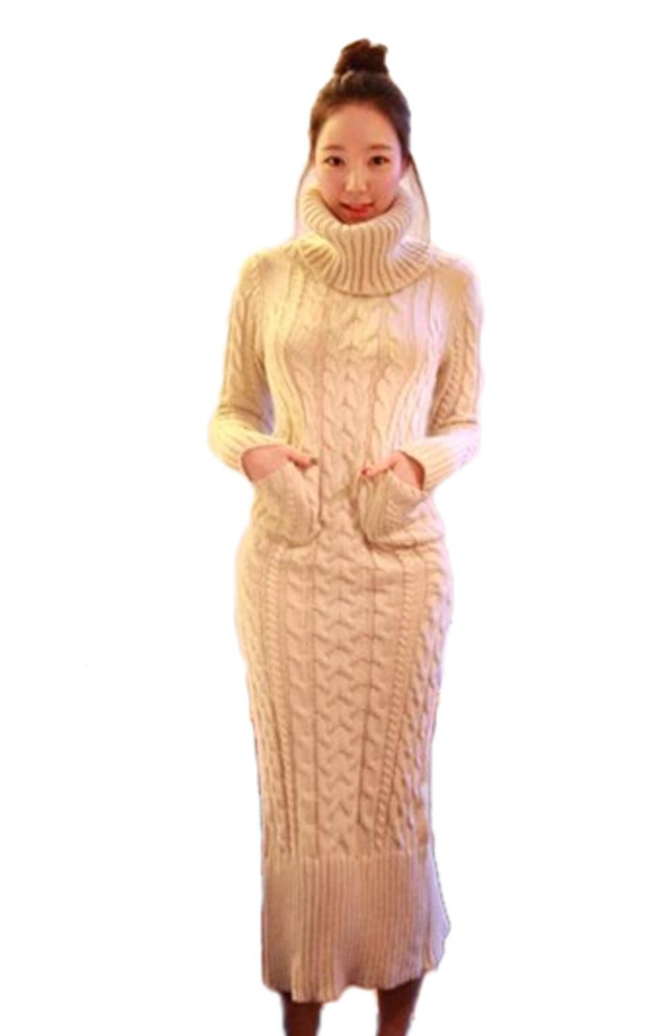 Fashion Women's Warm Knit Long Sweater Dress Beige Turtleneck ...
