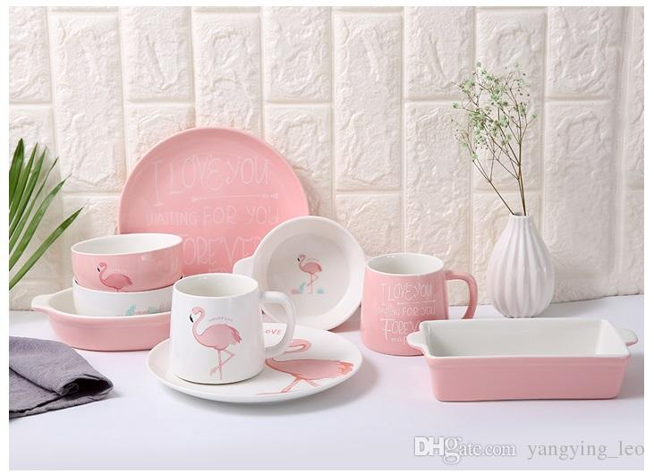 2018 Pink Flamingo Plate Ceramic Plate Cups Bowls Set Ceramic Tableware Set Can Use In Microwave Oven/Disinfection Cabinet From Yangying_leo ... & 2018 Pink Flamingo Plate Ceramic Plate Cups Bowls Set Ceramic ...