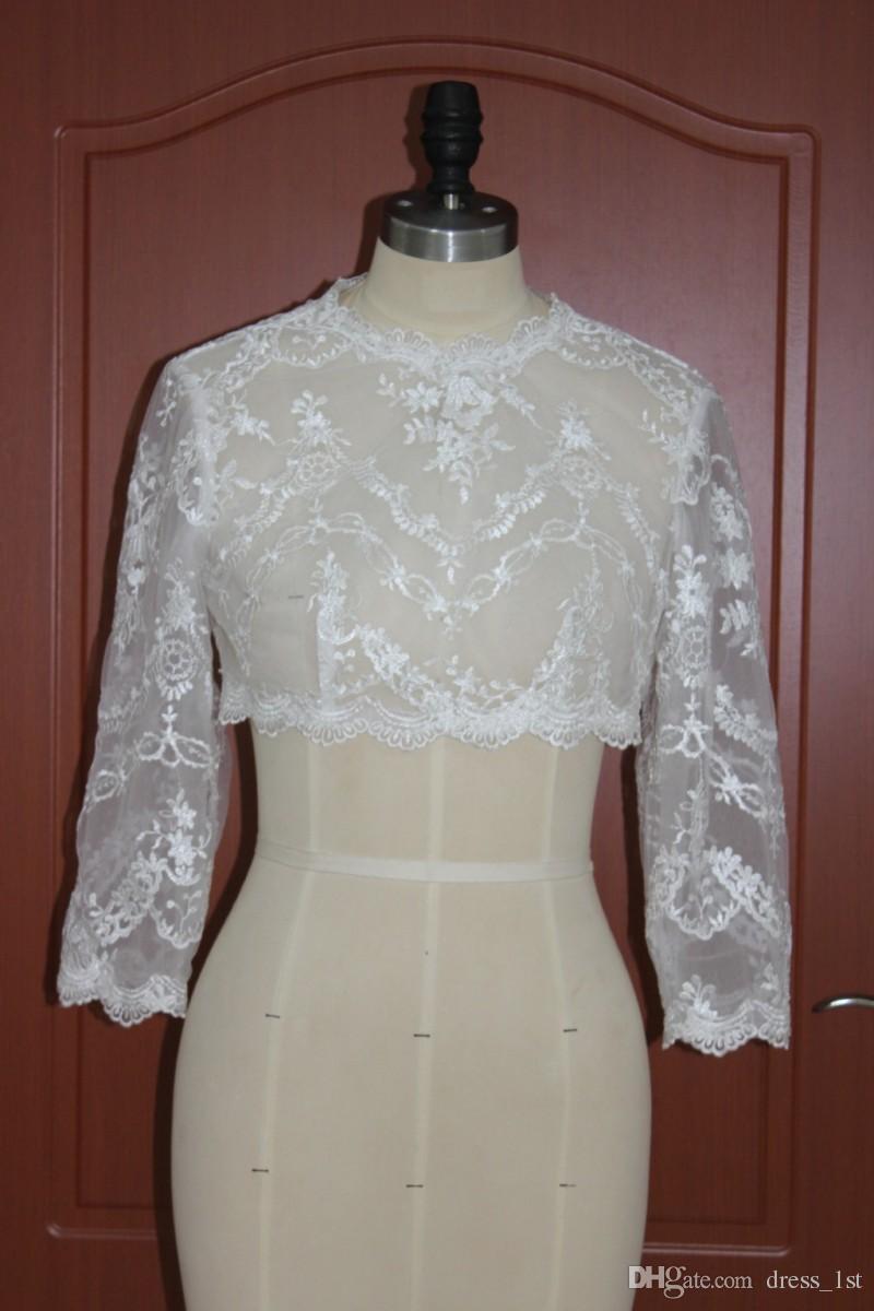 Real Photo 2019 Bridal Lace Bolero Jacket Wedding Dress Wrap Jewel Neck 3 / 4 Sleevs Wedding Bridal Accessories Custom EN12012