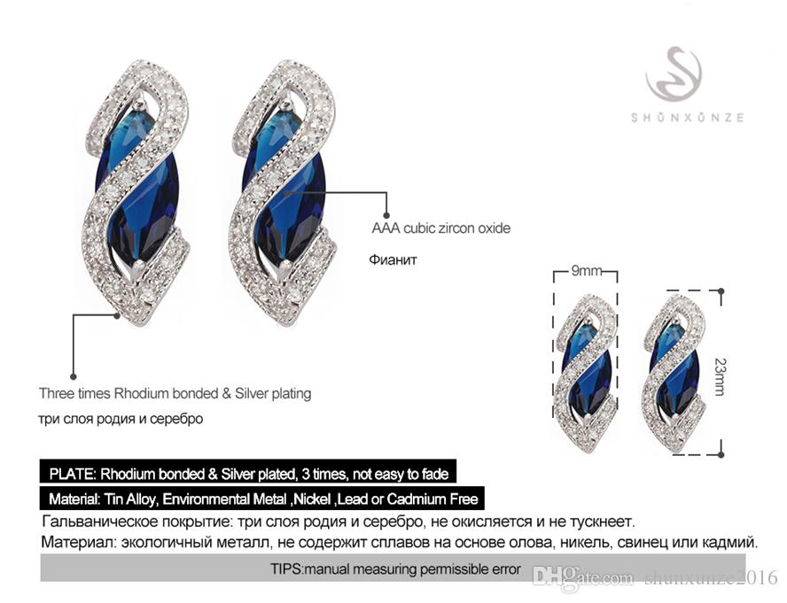 Tijd Beperkte korting Bestsellers Kerstcadeau Favoriete MN849 Vintage Blue Cubic Zirconia Shinning Copper Rhodium Plated Trendy Oorbellen
