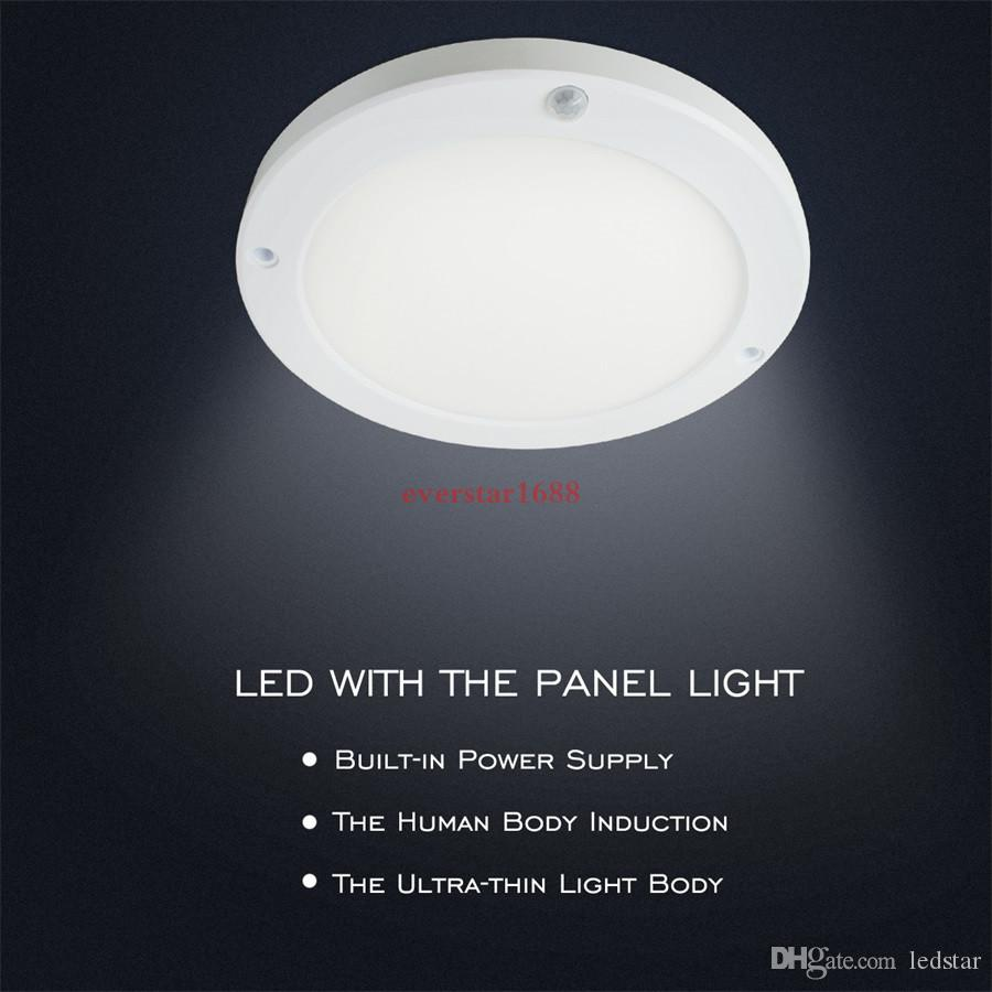 Super Bright 18W PIR Sensor Panel Lights Round Square Led Sensor Downlight Warm white /White Color Lamps for Dining Room