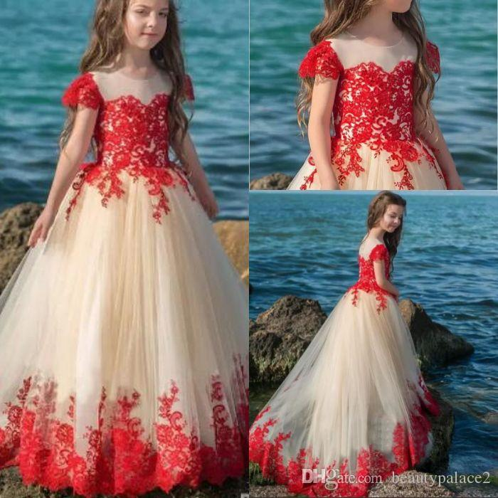2a4fb6e968b1 Princess Flower Girl Dresses For Weddings A Line Classical Red Lace  Appliqued Floor Length Tulle First Communion Dress Special Occasion Cheap  Dresses ...