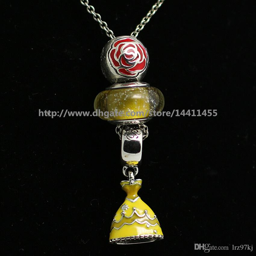 Collar de perlas sueltas de bricolaje Collar de plata de ley 925 con colgante y collar con perlas y colgantes de estilo europeo de Pandora- Vestido de Belle