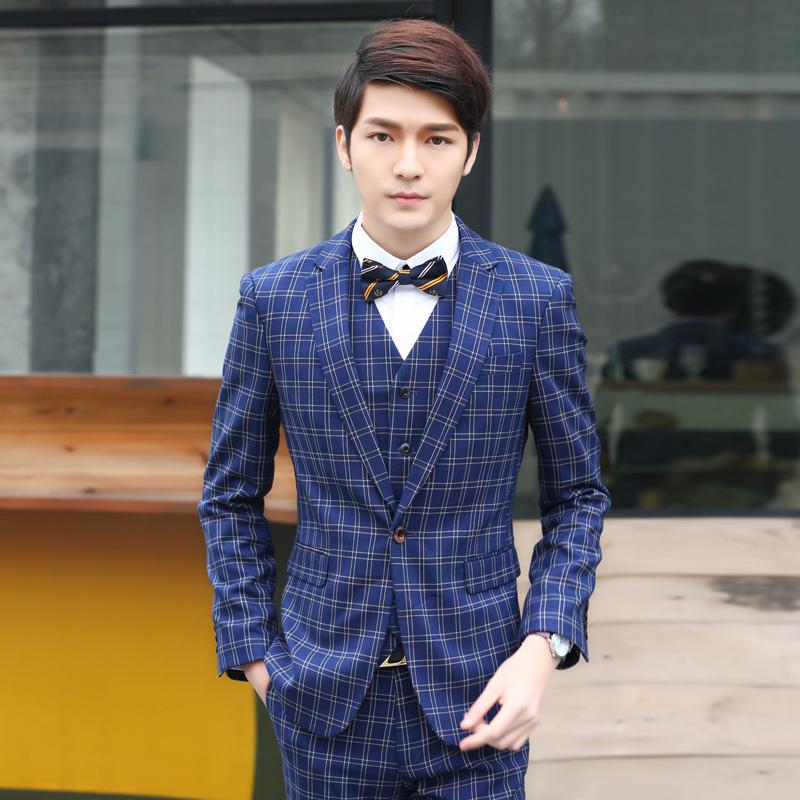 2018 2015 New Arrival One Button Men Suit Fashion Plaid Mens Suits ...