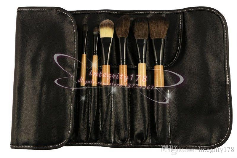 Preto / Marrom lidar com Kit de Pincéis de Maquiagem Profissional Kit Escova de Cosméticos Kit Ferramenta + Roll Up Caso DHL