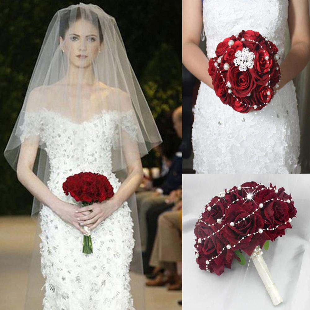 Hot Sale Dark Wine Red And White Bridal Bouquet Wedding Flower With Artificial Handmade Dhyz 03