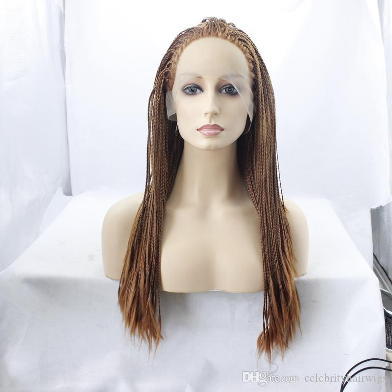 MHAZEL #30 box braided real hair 18inch synthetic glueless lace front wig baby hair heat resistant fiber stock