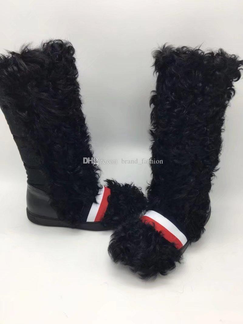 White Black Fur Snow Boots Winter Knee High Warm Boots Fashion Hot