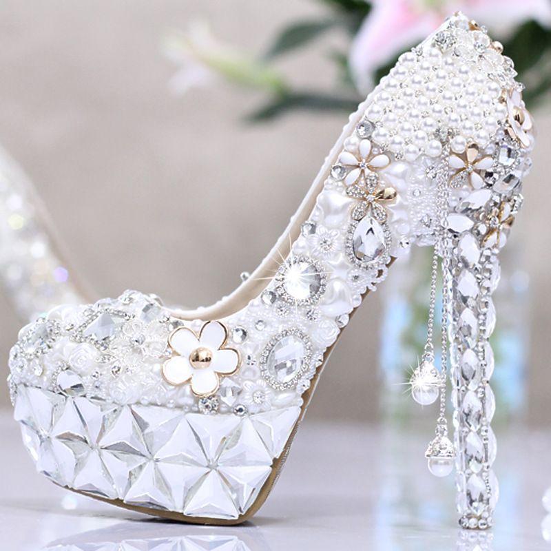 2016 New Elegant Bridal Wedding Shoes Crystal High Heel Shoes Rhinestone  Pearl Sparkling Wedding Nightclub Princess Shoes Silver Hy00277 Kitten  Heels ...