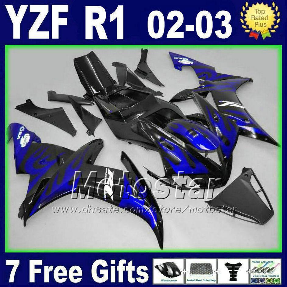 الأزرق لهب هدية طقم لياماها 2002 2003 yzf r1 fairings حقن مصبوب أجزاء الطريق دراجة نارية هيكل السيارة 02 03 r1 أطقم الجسم
