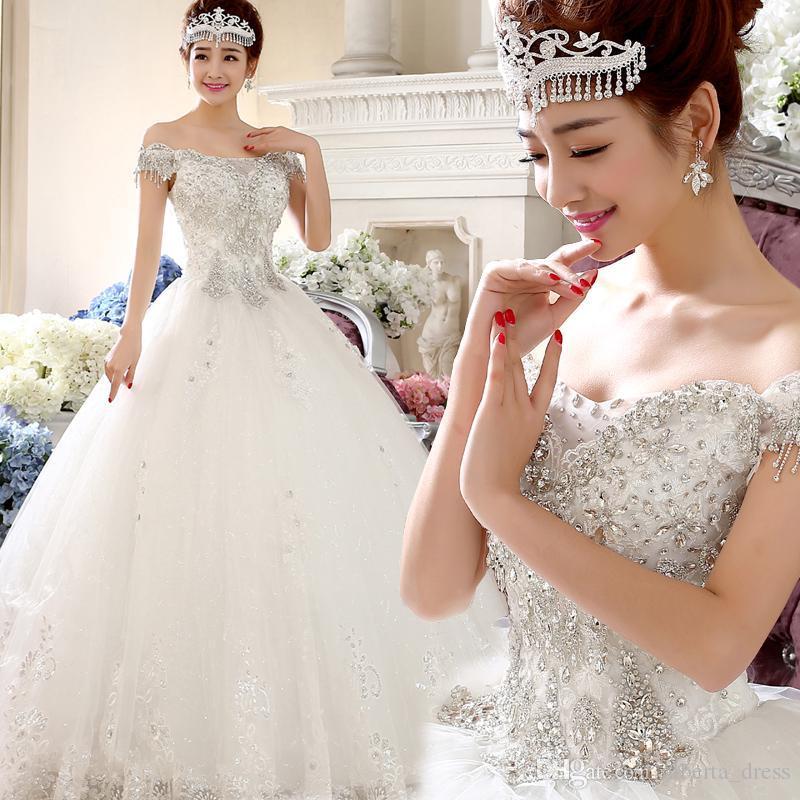 Vestido De Novia 2019 Luxo Princesa Vestidos De Noiva Da Noiva Branco Rendas Bordado Cristal Sexy Magro Longo Bola Gwon Personalizado Plus Size