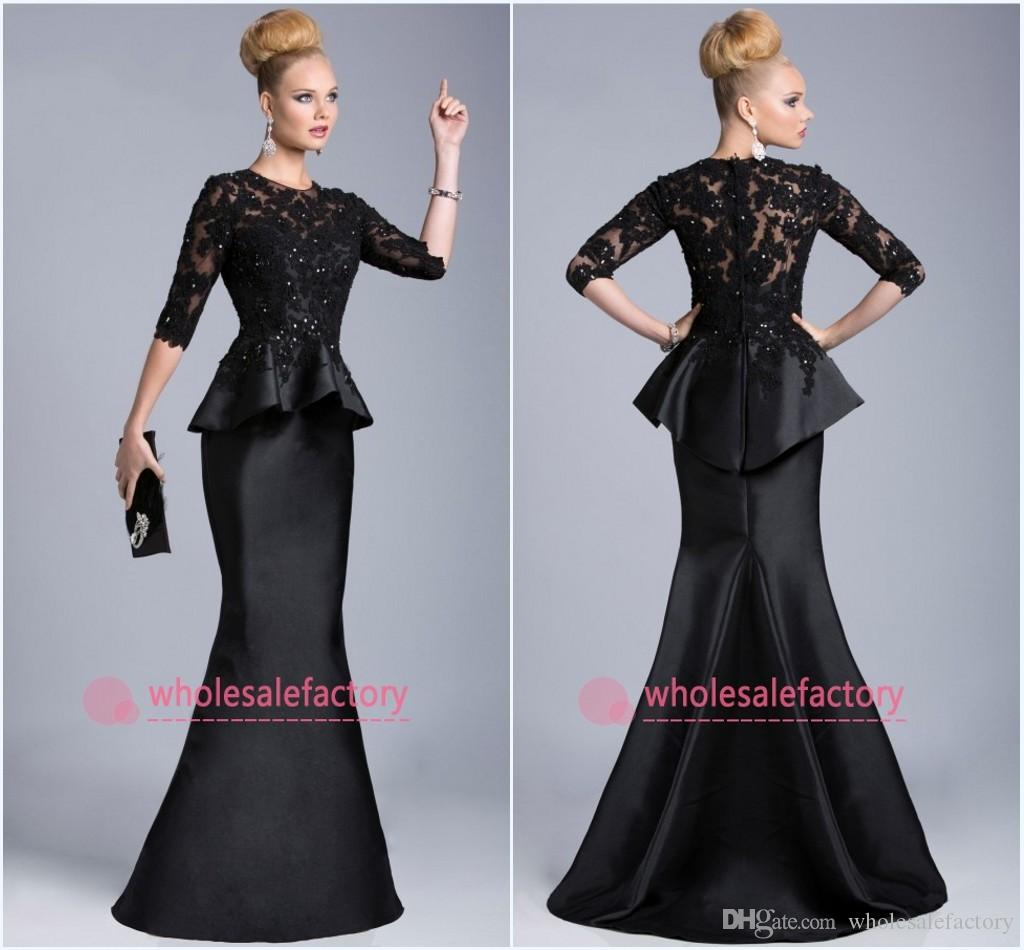 2016 Black Evening Gowns Sheer Crew High Neck Half Long Sleeves ...