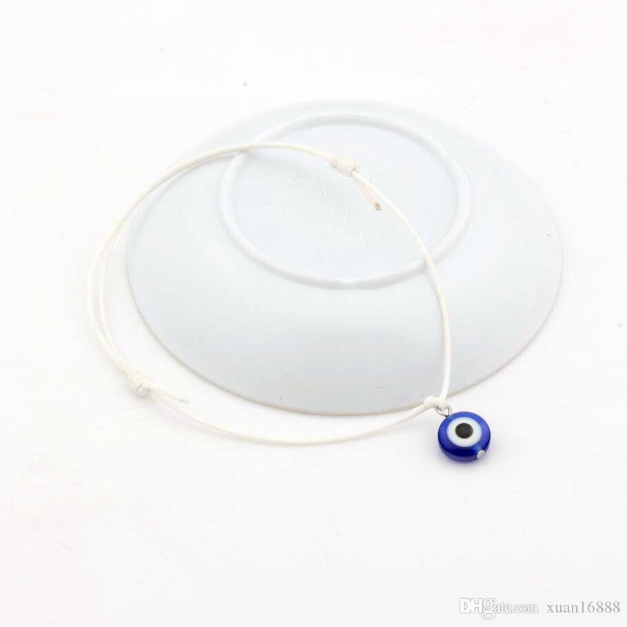 Горячей ! Evil Eye Bracelets - Регулируемые белые восковые веревки Шарм Браслеты Lucky Eye Beads Браслеты