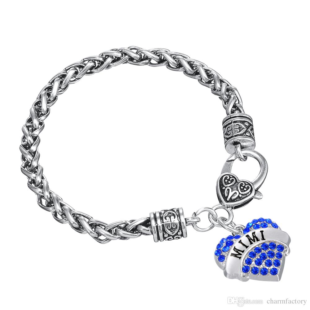 Designer Bracelet Sweet Heart Crystal Wire Thick Bracelets Word MIMI Charm Bangles Twisted Chain DIY Bangle Friendship Jewelry