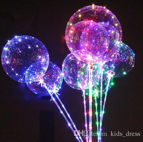 Luminous LED Balloon Transparent Colored Flashing Lighting Balloons With 70cm Pole Wedding Party Decorations Holiday Supply CCA8166 100pcs