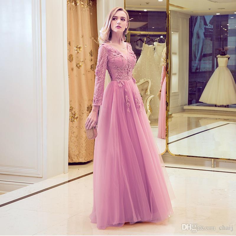 2020 Nouveau design soirée Robe douce honorable Rose broderie de dentelle col V à manches longues Prom La mariée élégante robe Banquet Party