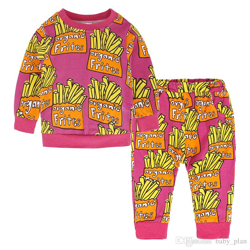 2018 Pink Lips Neonate Vestiti Completi bambini Felpe Felpe Tops + Pantaloni Cotton Newborn Chips Abbigliamento Suit Bambini Spring Outfits